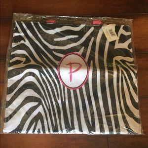 "Monogrammed tote bag ""P"" zebra"